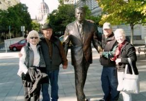 Marilynn, Bryan, David and Nancy - Ronald Reagan Statue in Budapest